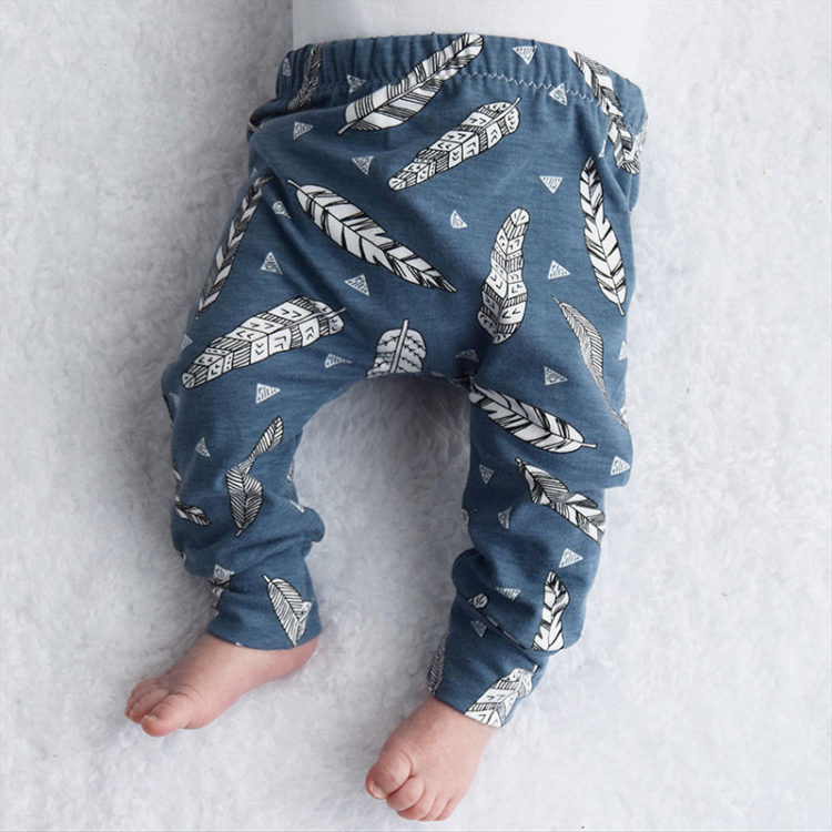 Organic Blue Feather Print Leggings