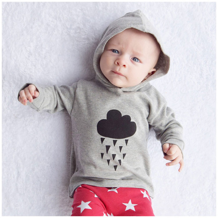 Organic Grey Cloud Hooded Top