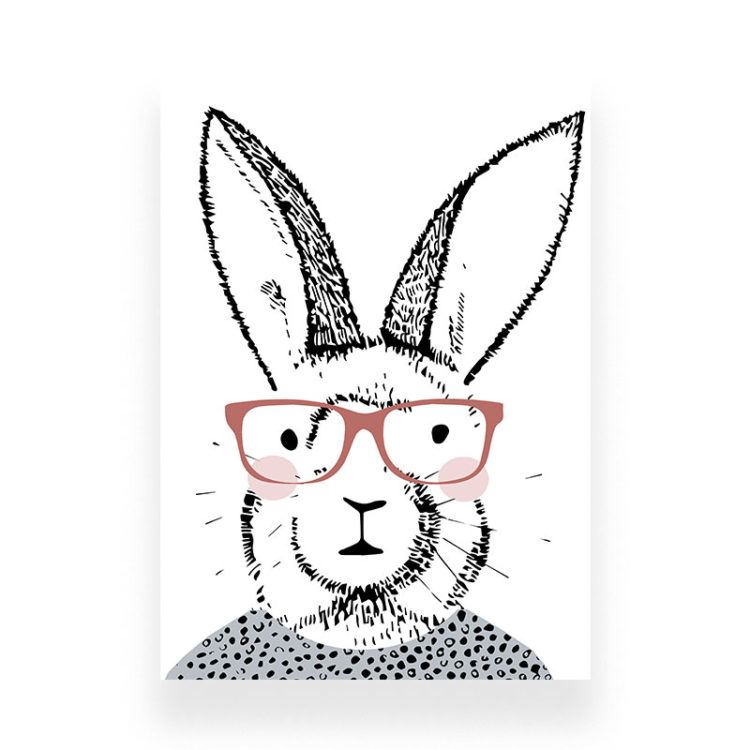 rabbit with glasses print