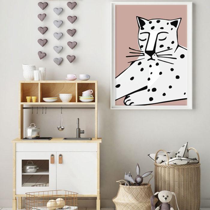 Snow Leopard Dusky Pink Print